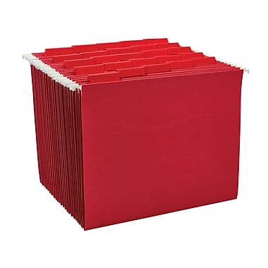Staples® Colored Hanging File Folders, 5-Tab, Letter, Red, 25/Box (163535)