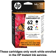 HP 62 Black/Tri-color Instant Ink Enrollment Kit (T6N14AN), 2PACK
