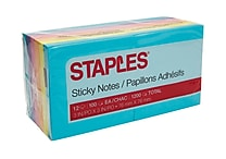 Staples® Stickies™ Notes, 3' x 3', Bold Colors, 12 Pads/Pack (S-33BO12)