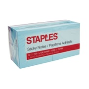 "Staples® Stickies™ Notes, 3"" x 3"", Watercolor Colors, 12 Pads/Pack (S-33WC12)"