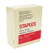 "Staples® Stickies™ Recycled Notes, 3"" x 5"", Yellow, 12 Pads/Pack (S-35YR12)"