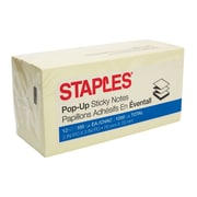 "Staples® Stickies™ Recycled Pop-up Notes, 3"" x 3"", Yellow, 12 Pads/Pack (S-33YRP12)"