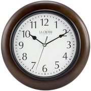 La Crosse Clock 404-2625 10 In Brown Solid Wood Analog Wall Clock