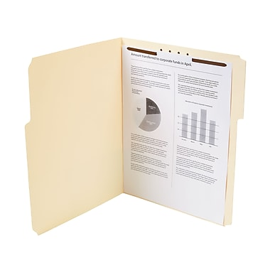 Staples Reinforced Fastener Folders with 1 Fastener, Letter, Manila, 50/Box