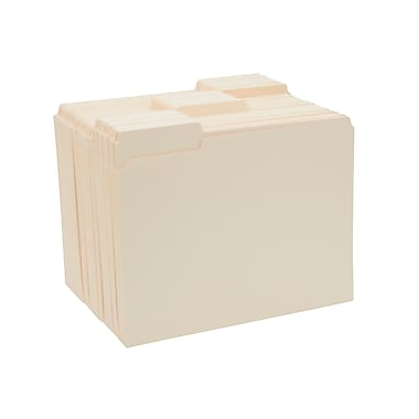 Staples 3-Tab File Folders, Letter, Assorted Position, Manila, 250/Box
