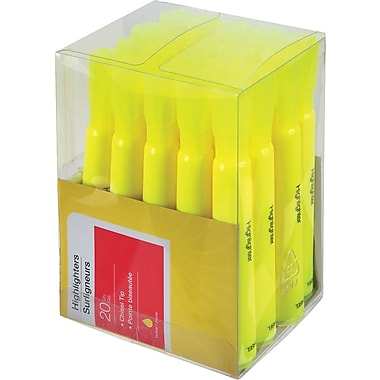 Tank-Style Highlighters, Yellow, 20/Pack