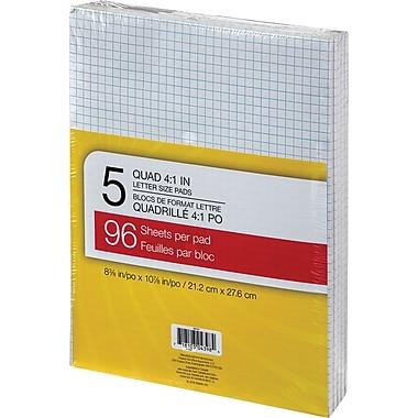 Tablettes de papier, 8 3/8 po x 10 7/8, quadrillé, blanc, 96 feuilles, paq./5
