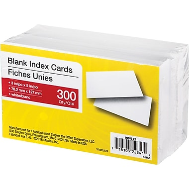 White Blank Index Cards, 3
