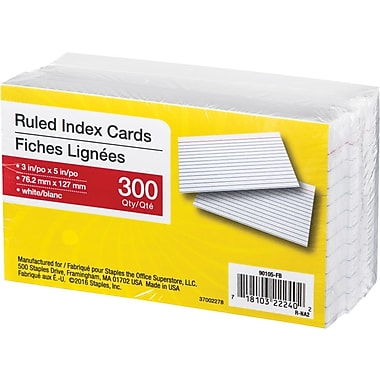 White Ruled Index Cards, 3
