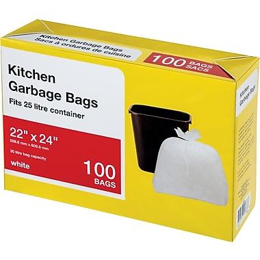 Large Kitchen Garbage Bags, White, 100/Pack
