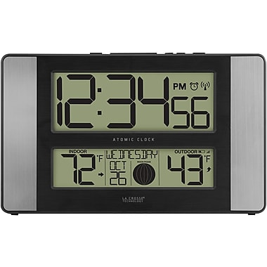 La crosse technology 513 1417al atomic digital clock with outdoor temperature aluminum finish - Extra large digital wall clock ...