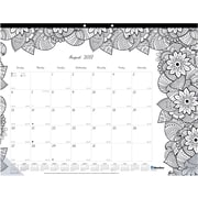 "2017-2018 Blueline® DoodlePlan™ Coloring Academic Monthly Desk Pad Calendar, 22"" x 17"", August '17-July '18 (CA2917311-18)"