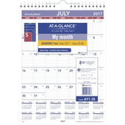 2017 2018 AT A GLANCE 8 inch x 11 inch Academic Mini Monthly Wall Calendar, 12 Months (AY1 28 18) by