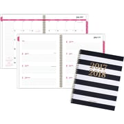 "2017-2018 AT-A-GLANCE® 8 1/2"" x 11"" Striped Academic Weekly/Monthly Planner, 12 Months, Black/White (1027S-905A-18)"