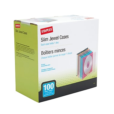 Staples 5mm Slim Jewel Cases, 100/Pack