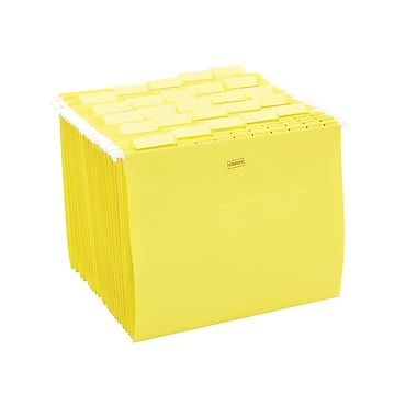 Staples® Colored Hanging File Folders, 5-Tab, Letter, Yellow, 25/Box (163519)