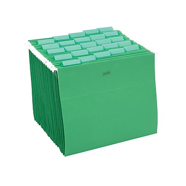 Staples® Colored Hanging File Folders, 5-Tab, Letter, Green, 25/Box (163527)