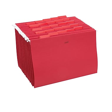Staples® Colored Hanging File Folders, 5-Tab, Legal, Red, 25/Box (163980)