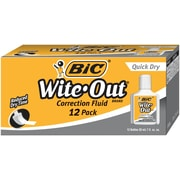 BIC® Wite-Out® Brand Quick Dry Correction Fluid Dozen, White (WOFQD12-WHT)