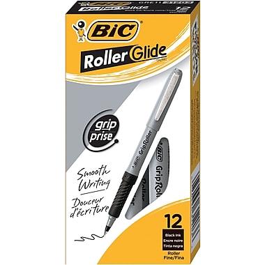 BIC® Grip Rollers, Fine Point, Black, Dozen