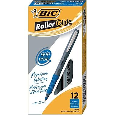 BIC® Grip Rollers, Micro Point, Blue, Dozen
