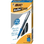 BIC® Grip Rollers, Micro Point, Blue, Dozen