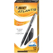 BIC® Atlantis® Retractable Ballpoint Pens, Medium Point, Black, Dozen