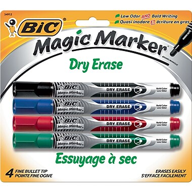 BIC® Magic Marker® Dry-Erase Markers, Pocket Style, Assorted Colors, 4/Pack