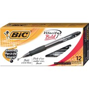 BIC® Velocity® Retractable Ballpoint Pens, Bold Point, Black, Dozen