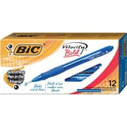 BIC® Velocity® Retractable Ballpoint Pens, Bold Point, Blue, Dozen