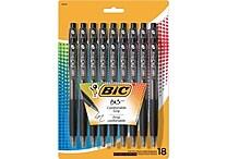 BIC® BU3 Retractable Ballpoint Pens, Medium 1.0mm, Black, 18/Pack