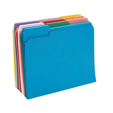 Staples® Colored File Folders w/ Reinforced Tabs, Letter, 3 Tab, 100/Box