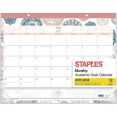 55b4496adf0 2017 2018 staples® 21 3 4 x 17 academic monthly desk pad floral medallion  12 months.