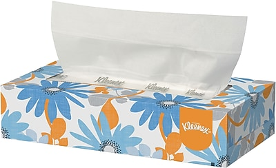 Kleenex 2 Ply Flat Box White Facial Tissues 100 Tissues Box 21400