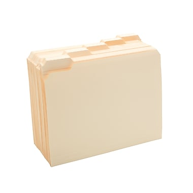 Staples Manila File Folders with Reinforced Tabs, 5 Tab, Letter, 100/Box