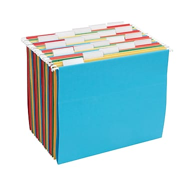 Staples® 100% Recycled Hanging File Folders, 5-Tab, Letter, Assorted Colors, 20/Box (452827)