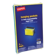 """Staples® 3-1/2"""" Hanging File Pockets, Legal Size, Assorted Colors, 4/Box (781575)"""