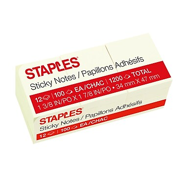 Staples Stickies Recycled Notes, 1.5in. x 2in., Yellow, 12 Pads/Pack (S-152YR12)