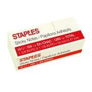 "Staples® Stickies™ Recycled Notes, 1.5"" x 2"", Yellow, 12 Pads/Pack (S-152YR12)"