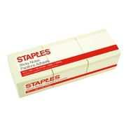 "Staples® Stickies™ Recycled Notes, 3"" x 3"", Yellow, 18 Pads/Pack (S-33YR18)"