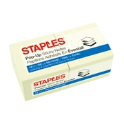 """Staples® Stickies™ Recycled Pop-up Notes, 3"""" x 3"""", Yellow, 12 Pads/Pack (S-33YRP12)"""