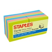 "Staples® Stickies™ 3"" x 3"" Bright Pop-Up Notes, 12/Pack"