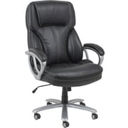 Essentials by OFM Big and Tall Leather Executive Office Chair with Arms, Black/Silver