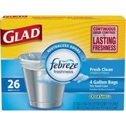 Glad® OdorShield® Trash Bags, Fresh Clean, White, 4 Gallon, 26 Bags/Box