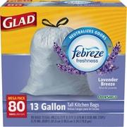 Glad® OdorShield® Tall Kitchen Drawstring Trash Bags, Lavender, 13 Gallon, 80 Count, 4/Carton