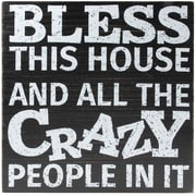 8x8 Black Wood Box Sign - Crazy People