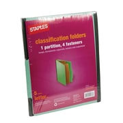 Staples® Colored Pressboard Classification Folders, 2/5 Cut Top Tab, Letter, Light Green, 1 Partitions, 5/Pack (PU541 GRE)