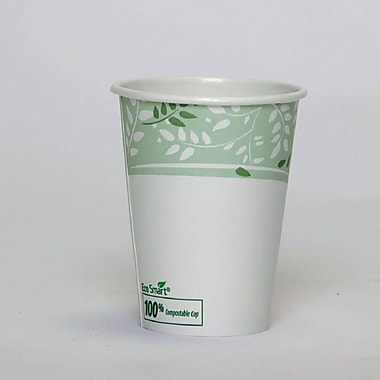 Dixie® Viridian™ Paper Hot Cup with PLA lining, 12 oz., White/Green, 1000/Carton