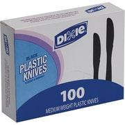 Dixie Heavy-Medium Weight Knives Plastic, Black, 100/Pack (KM507)