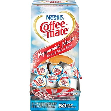 Nestlé® Coffee-mate® Coffee Creamer, Peppermint Mocha, .375oz liquid creamer singles, 50 count